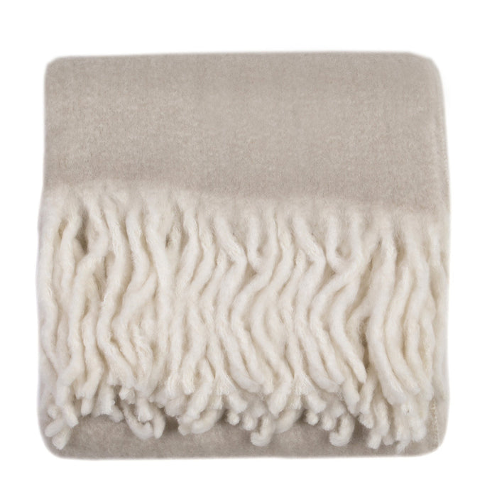 Ombre Mohair Blend Throw with Fringe