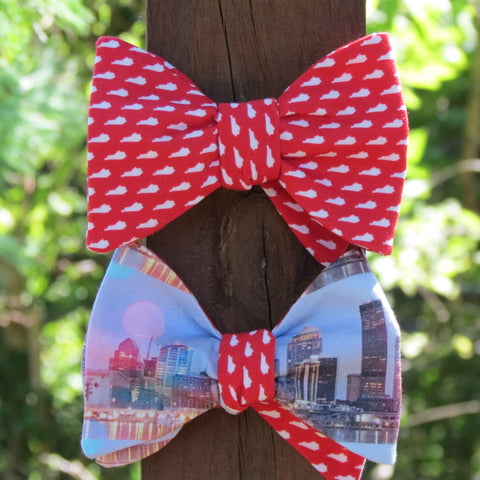 Bow ties red with white Kentuckys and the skyline of Louisville