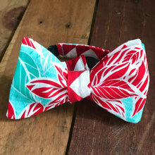 Poinsettias with Teal and Red Chevron Bow Tie