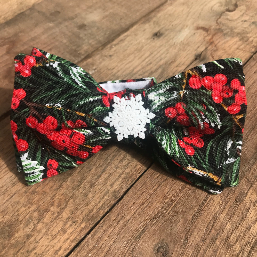 Snowflake and Holly Bow Tie