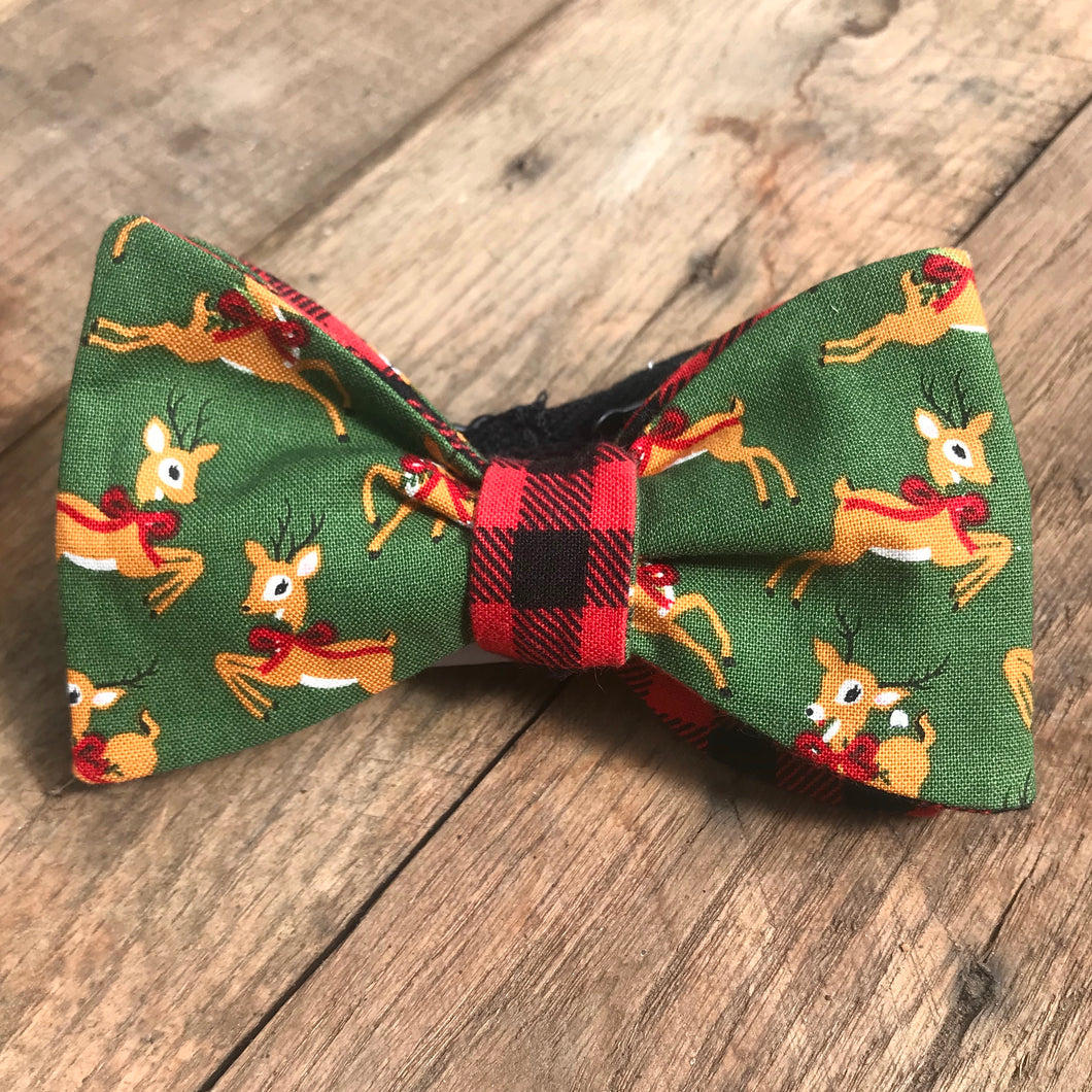Reindeers and Buffalo Plaid Bow Tie
