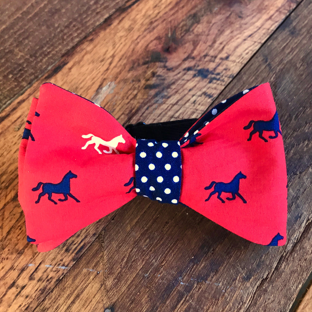 Horses with Navy Polka Dots Bow Tie