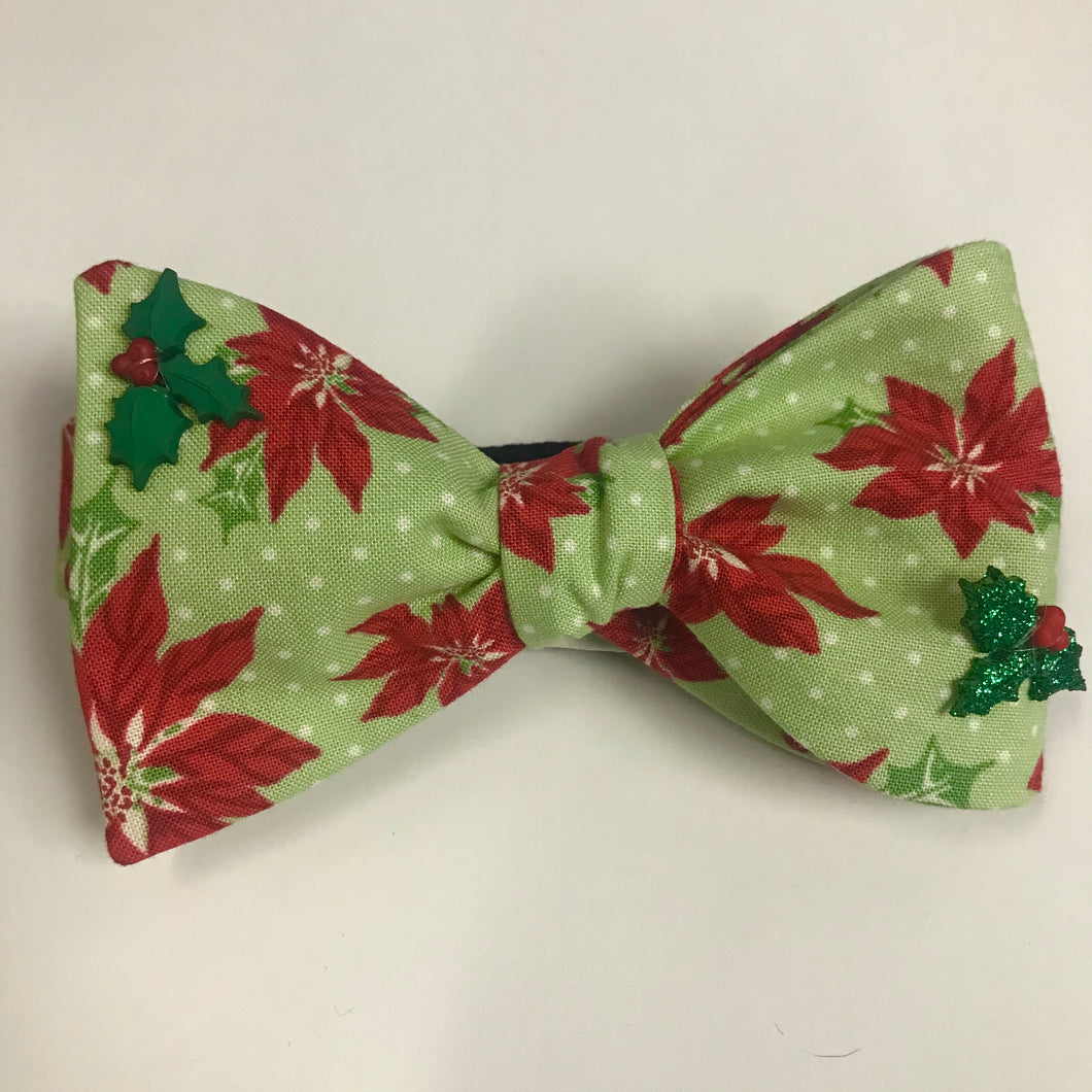 Embellished Poinsettia Bow Tie