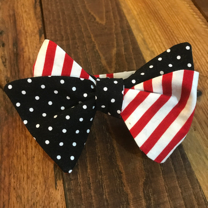 Black Polka Dots and Red with White Stripes Bow Tie