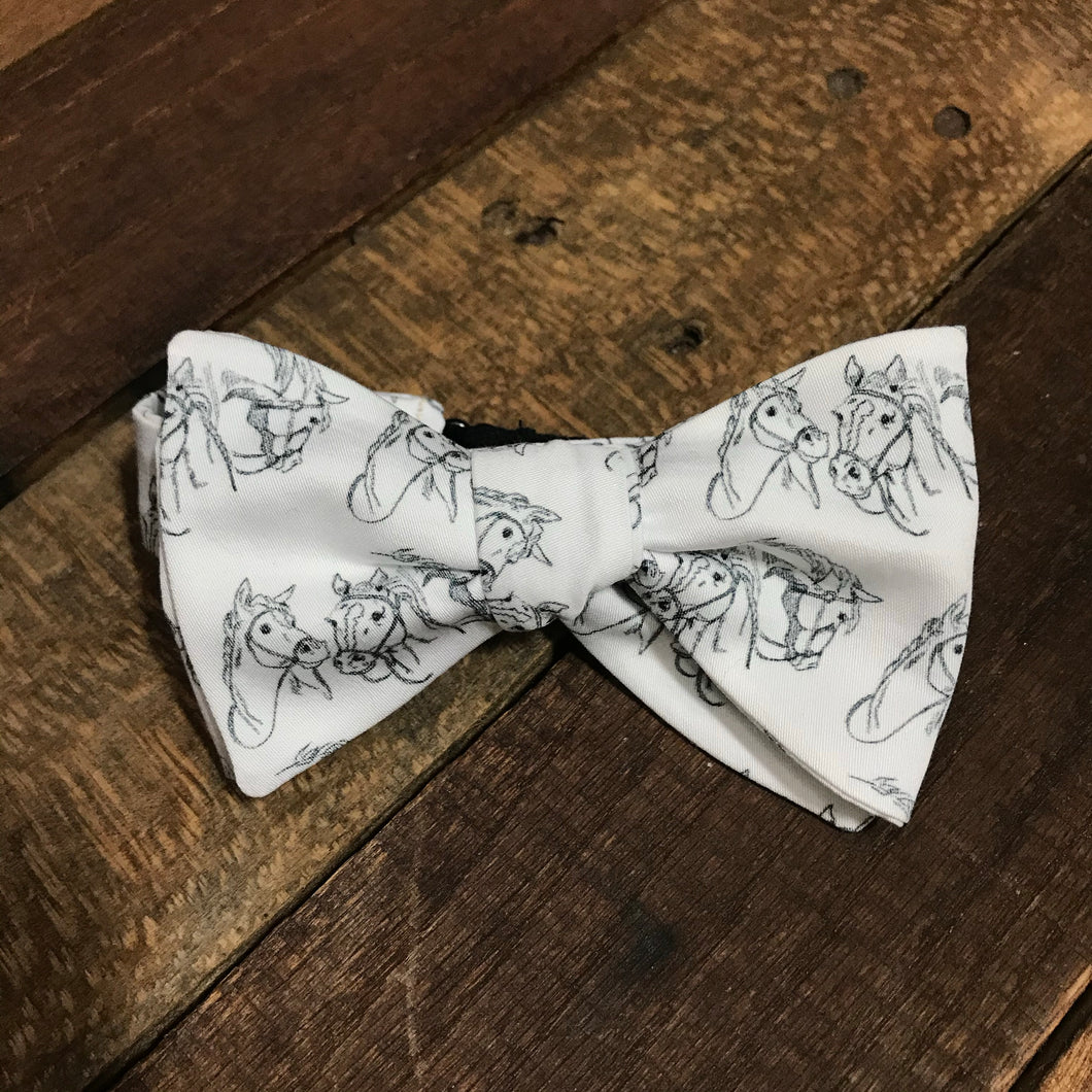 Hand Drawn Horses Bow Tie