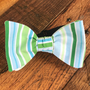 Green and Blue Striped Bicycle Bow Tie