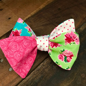 Lime and Teal and Pink Quad Bow Tie