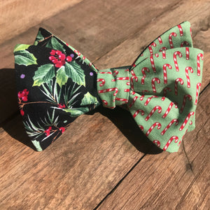 Green Candy Canes and Holly Bow Tie