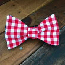 Red and Navy Gingham Bow Tie