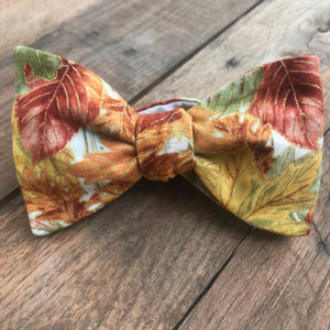 Watercolor Autumn Leaves Bow Tie