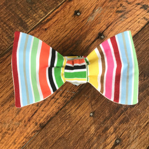 Multicolored Striped Bicycle Bow Tie