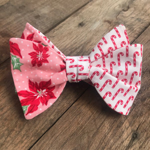 Pink Poinsettias and Candy Canes Bow Tie