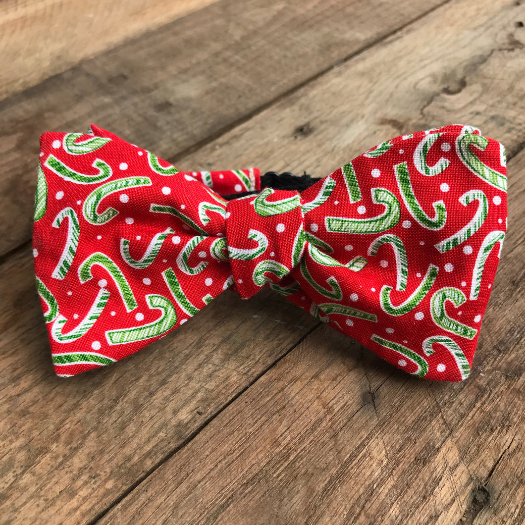 Red and Green Candy Canes Bow Tie