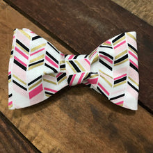 Pink and Gold Herringbone Bow Tie