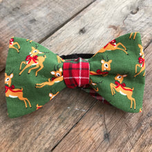 Reindeer and Plaid Bow Tie