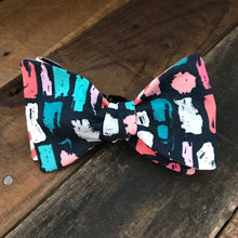 Coral Stripes with Navy Multicolored Bow Tie