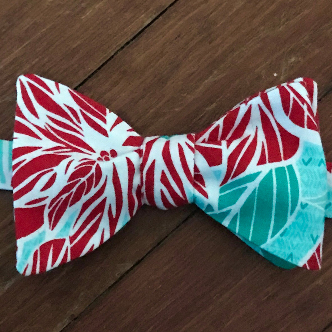 Poinsettias with Teal Bow Tie