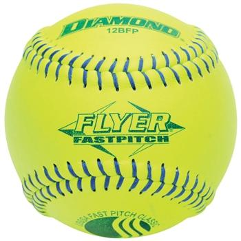"Diamond Flyer 12"" USSSA Fastpitch Classic Softballs 12BFP CLASSIC - 6 Dozen  Product Features: Blue Stitch 12"" Competition Grade Softball Built for maximum durability and consistent performance Optic Yellow Leather Cover Polyurethane Core  Approved Leagues: USSSA Leagues Manufacturer: Diamond Sports"