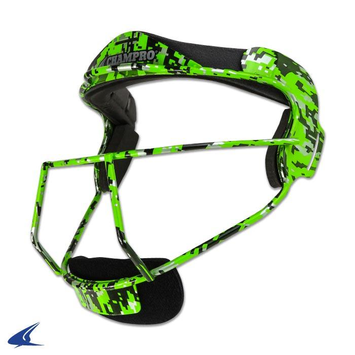 Champro Grill Softball Mask Adult: CM01 Lime Camo