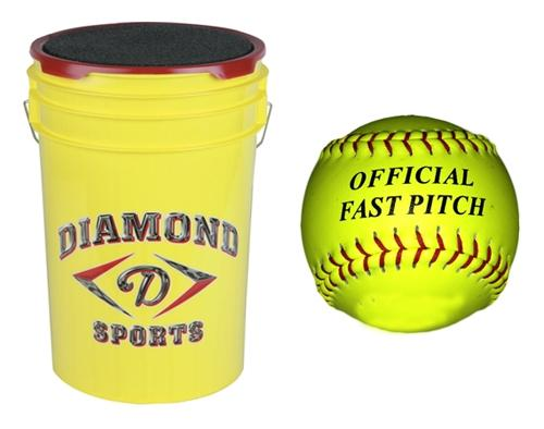Fastpitch 12 inch Practice Softball and Bucket Combo