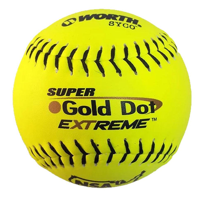 Worth Super Gold Dot Extreme Syco ICON Slow Pitch Softball - One Dozen: NI12CY