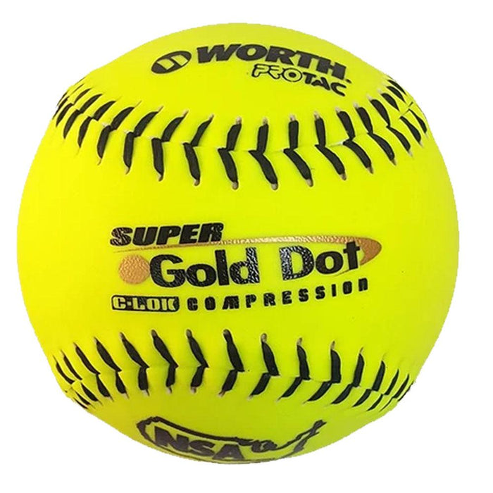 Worth Super Gold Dot NSA ICON Slow Pitch Softball - One Dozen : NI12SY