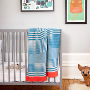 McGhee – Knitted Stripe Baby Boy Blanket - Teal