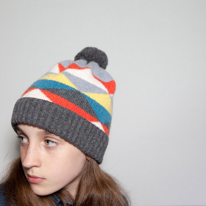 Corrie - Geometric Kids Knitted Unisex Beanie Hat with Pom Pom - Grey