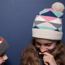 Corrie - Geometric Kids Knitted Unisex Beanie Hat with Pom Pom - Ivory