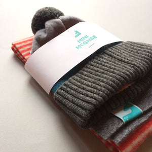 Loggie Gift Set - Lambswool Beanie Hat and Striped Scarf Gift Set - Orange