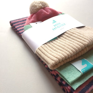 Loggie Gift Set - Lambswool Beanie Hat and Striped Scarf Gift Set - Pink