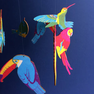 Burdy - Handmade Tropical Bird Nursery Mobile