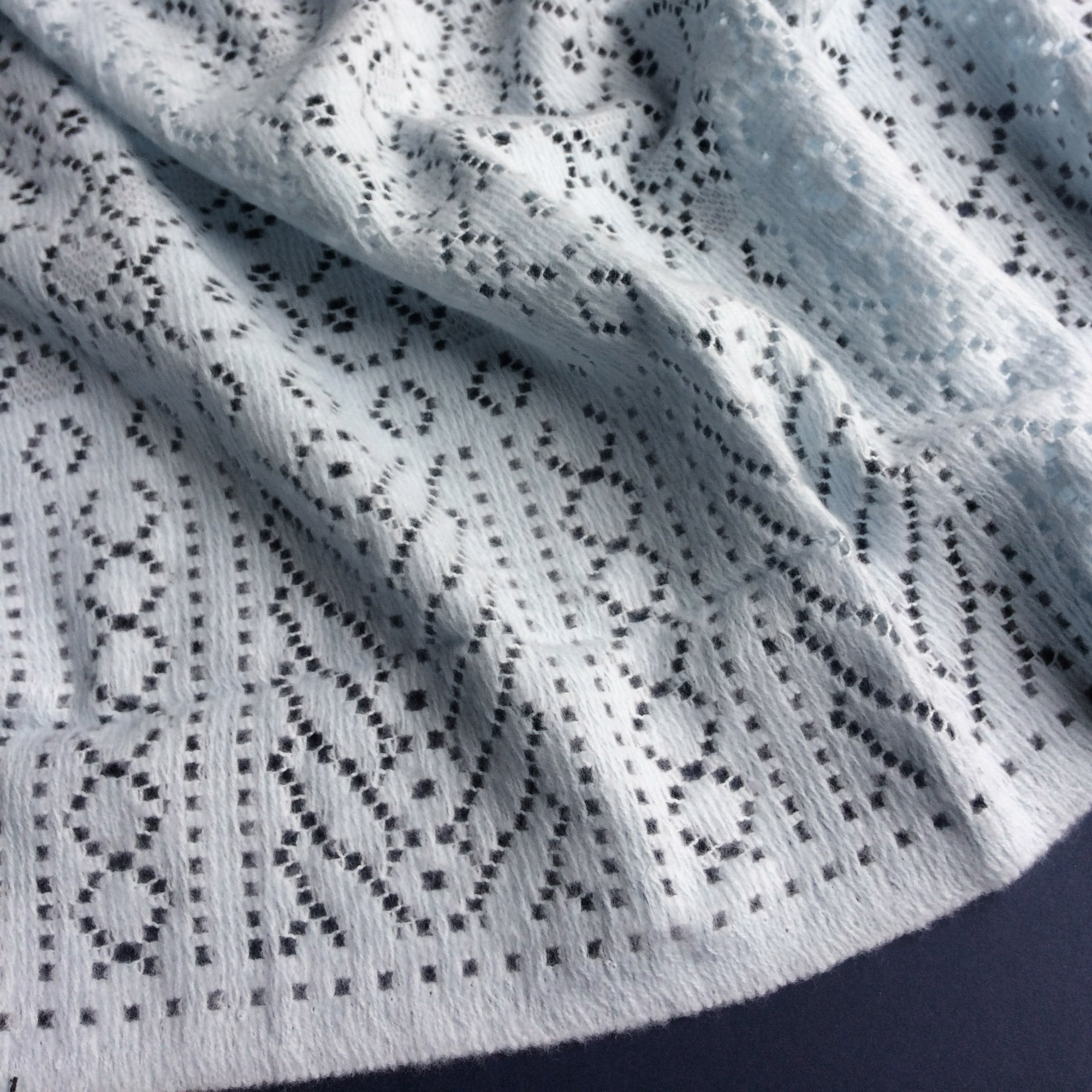 Rae - Lace Baby Boy Shawl/Blanket - Blue