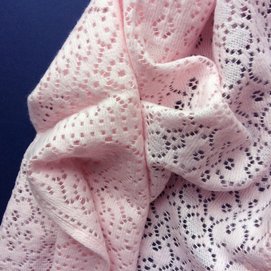 Rae - Lace Baby Girl Shawl/Blanket - Pink