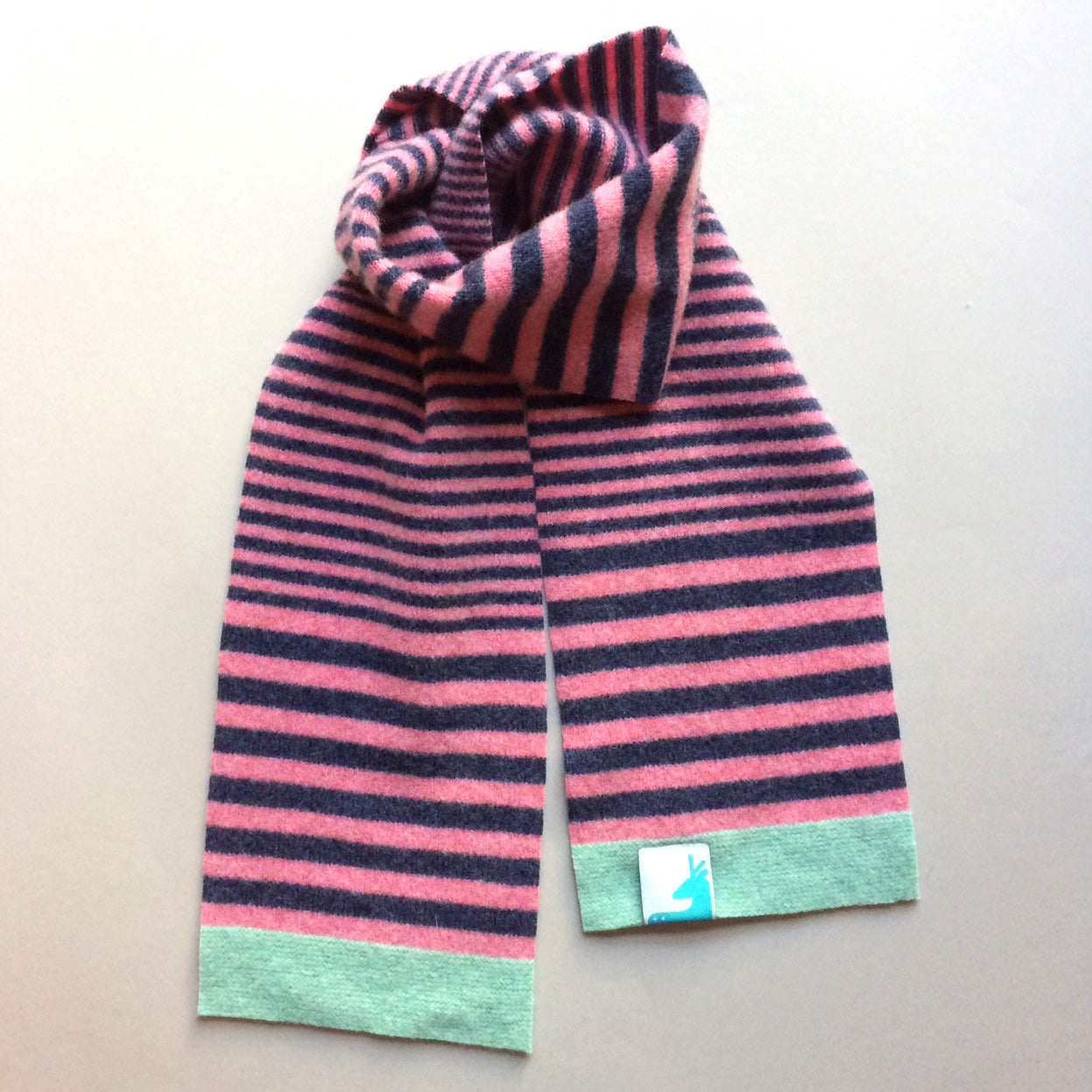 Quinn Scarf - Striped Lambswool Kids Scarf - Pink
