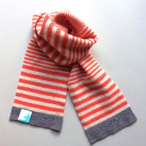 Quinn Scarf - Striped Lambswool Kids Scarf - Orange