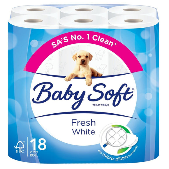 Baby Soft 2 Ply Toilet Paper White 18's