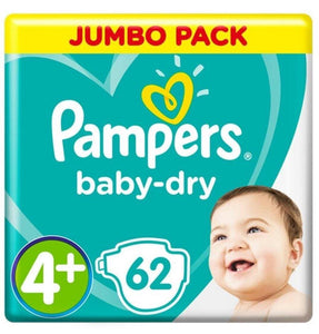 Pampers Active Baby Nappies Size 4+ Maxi+ Jumbo Pack 62s