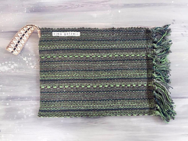 Rug clutch bag in green color