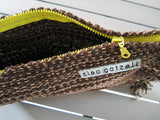Rug clutch bag in brown color