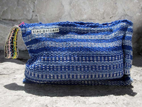 Rug clutch bag in blue color