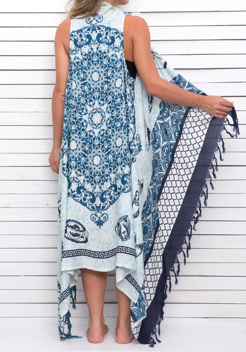 PORCELAIN BLUES pareo dress
