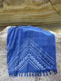 Peshtowel/towel in denim stonewashed color with a grunge plain print in white colour