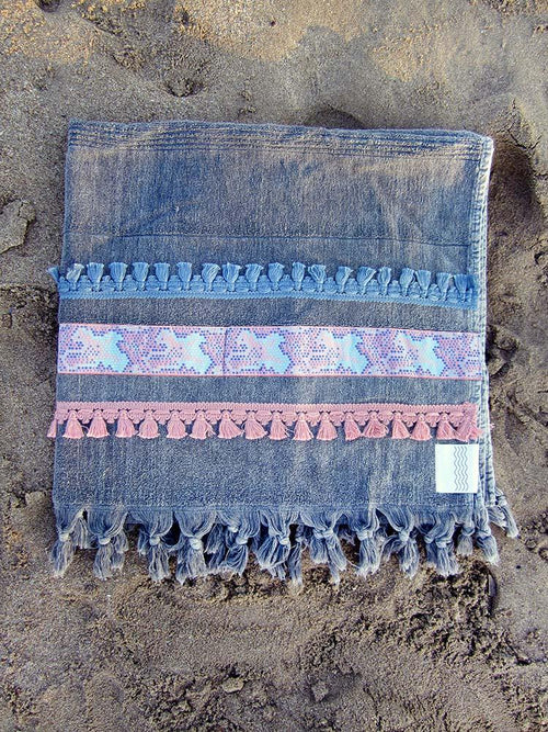 Peshtowel/towel in iron stonewashed color with a wide woven ribbon in pale pink and ciel color and fringed bands