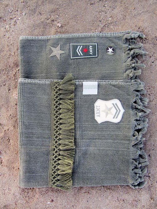 Peshtowel/towel in army stonewashed color with heat transfer patches and tassels