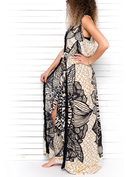 FISHNET MANDALA maxi dress