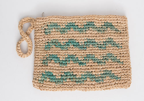 WAVES woven straw clutch
