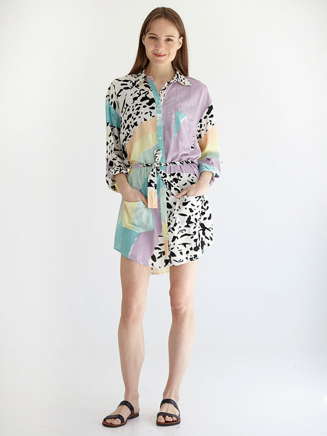 RAINBOW boyfriend shirt dress
