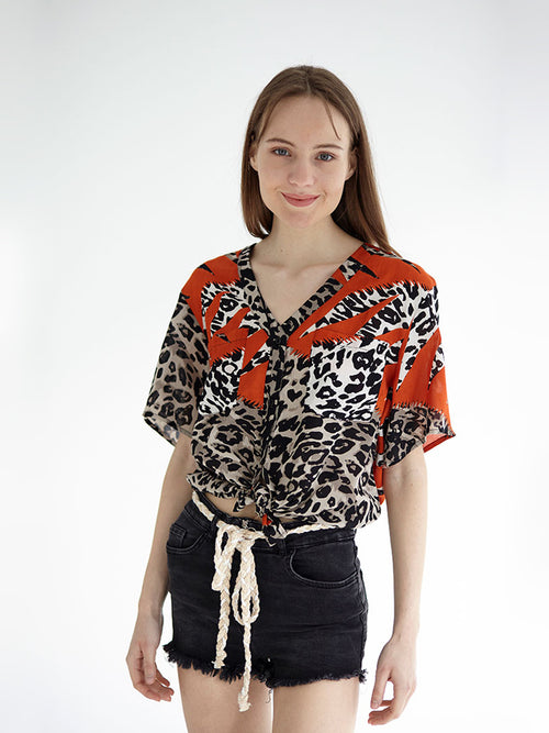 CHEETAH cropped shirt