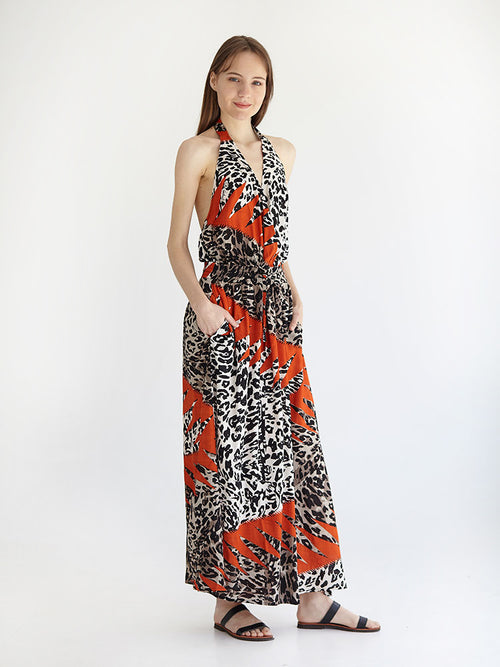 CHEETAH maxi backless dress